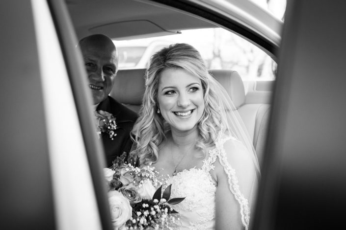 bride in wedding car at lecanvey church westport