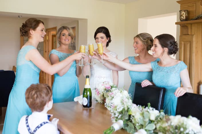 bridesmaids toasting mayo abbey wedding