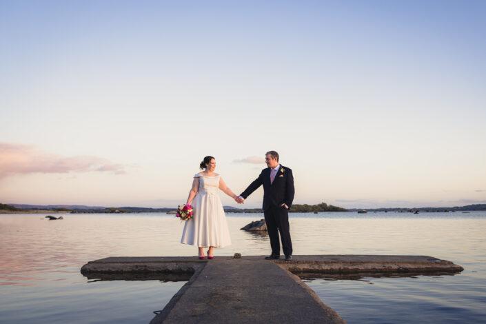 bride groom on jetty